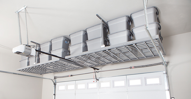 Gorgeous Garage Overhead Garage Shelving Rack With Full of Bins